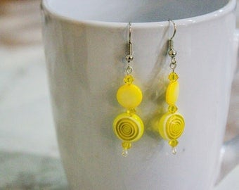 Yellow dangle earrings - Handmade