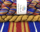 Wonder Woman with Gold Heel & Toe - Ready to Ship by May 11th - Hand-Dyed Self-Striping Glitter Sock Yarn