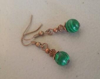 Malachite  & Copper Dangle Earrings