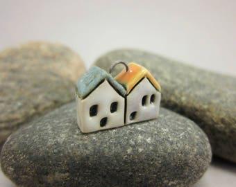 Little Neighbors...Stoneware Pendant...White & Pale Lavender