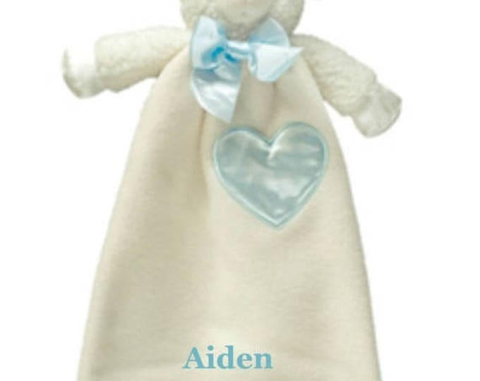 SALE Embroidered Lamb Minky Security Blanket, Personalized Baby Lamb Keepsake, Embroidered Woobie, Blue and White lamb