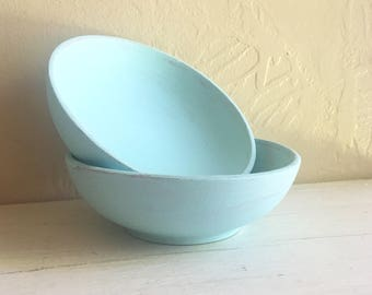 Pair of Light Blue Painted Wood Wooden Bowls Storage Trays Vintage Upcycled 2 Two