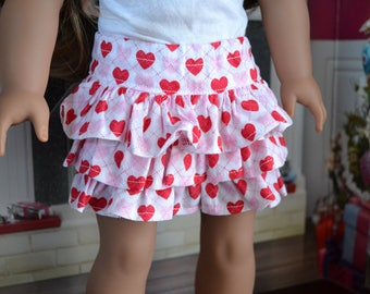 18 inch Doll Clothes - Argyle Hearts Flirty Skirt  - love valentines - RED WHITE PINK - fits American Girl