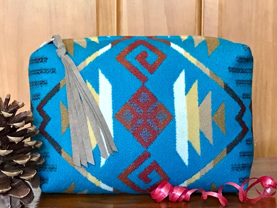 Wool Unlined Clutch / Cosmetic Bag / Makeup Bag / Travel Bag XXL Turquoise Coyote Butte
