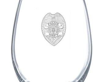 Police Department 23 Ounce Personalized Stemless Wine Glass