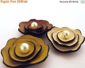 40% OFF SALE Multicolor layered Leather flowers supplies for jewelry making Jewelry supplies Leather flowers