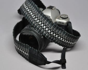 """34"""" Strength-Lined Hand Woven Adjustable Camera Strap (Black, Gray, and White)"""