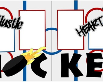Hustle Heart Hockey  2-page 12x12 do-it-yourself scrapbook kit