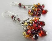25 OFF Mozambique Garnet With Citrine, Orange and Red Quartz Silver Chandelier Earrings