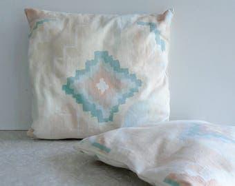 pastel throw pillows, native southwest geometric pattern, desert decor, aqua peach pink diamonds, pair throw pillows, set of two, 1980 decor