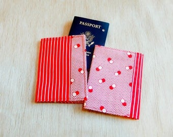 Passport Wallets, Fabric Passport Covers, Red Stripes and Circles Passport Covers, Passport Holders, Travel Grad Gift, Fabric Passport Cases