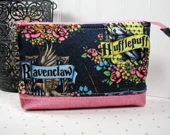 Magical Floral Hogwarts Houses Pouch/ Harry Potter Pouch / Hogwarts House Crest Pouch