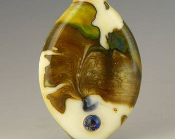 handmade lampwork glass bead an oval tab focal in ivory with silverglass shards and accents  - Appaloosa
