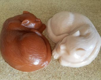Brown and Cream Cat Soap Set, Sculpture Style, 20% Dedicated to Cat Causes