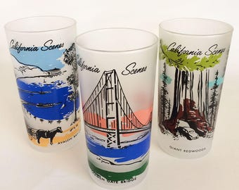 3 Vintage Libbey Frosted California Tumblers, CA Scenes Souvenir Glasses, Golden Gate Bridge, Catalina, Redwoods