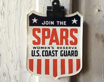 1940's WWII Join the SPARS Women's Reserve U.S. Coast Guard Recruitment Decal