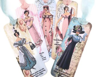 Bookmark- Jane Austen-Vintage Retro Paper Bookmark, Victorian Sense & Sensibility Quotes Bookmark, Book Lover, Tea Party Favor-Australia