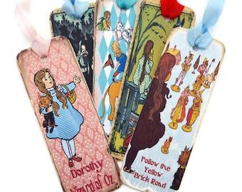 Wizard of Oz Bookmarks, Vintage Retro Tag, Paper Bookmark, Tea Party Favor, Dorothy,Tin Man,Scarecrow, Children Fairytale Party Favor