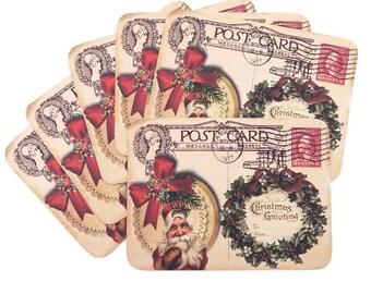 Retro Christmas Santa Blank Note Cards -Ivy Wreath Christmas Greeting -Vintage Post Card -Happy Holiday - Merry Xmas