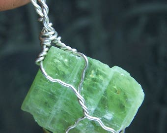 Green Kyanite Crystal Sterling Silver wire wrap necklace pendant - light Kyanite blade Tanzania Africa cord or chain coyoterainbow ic2i