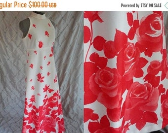 ON SALE 70s Dress // Vintage 1970's White and Red Roses Maxi Dress with Matching  Bolero Jacket Size M L 30 waist