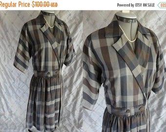 "ON SALE 50's Dress // Vintage 1950s Gray Blue Plaid Day Dress Size M L 29"" waist full skirt"