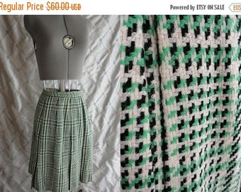 "ON SALE 1960's Vintage Green Plaid Skirt by Harburt  Size S 25"" waist pleated"