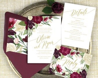 burgundy and gold wedding invitations, burgundy floral wedding invitations, marsala wedding invitation, winter wedding, printed invitations