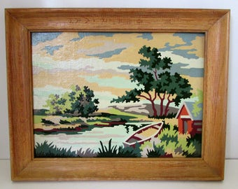Vintage Paint by Number Painting Boat House by River with Row Boat Scene PBN 1950s Cabin Decor