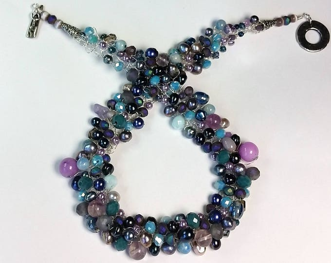 Wire Crocheted Necklace - Necklace Collar - Aqua, Purple and Teal - Pearls and Crystals - Wire Crocheted Necklace and Earrings