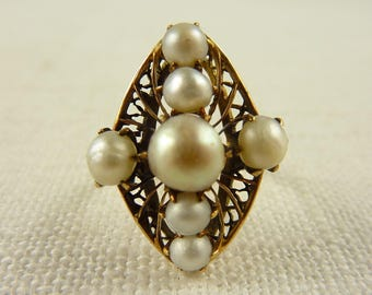 WW) Size 4 Antique Victorian 14K Gold Genuine Pearl Ring