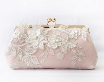 HALF PRICE SALE Bridal Clutch with Magnolia Flower Vine Lace in Blush Pink and Rose Gold 8-inches (Ready to ship)