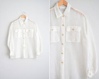 Size M/L/XL // MESH OVERSIZED Shirt // White - Long Sleeve - Button-Up - Collar - Linen-Nylon - Sheer - Vintage '90s.
