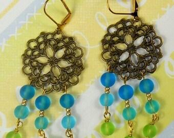70% SALE Ocean Breeze Chandelier earrings in gold, summer beach dangle earrings, frosted glass earrings