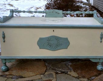 Shabby Chic Painted Cottage Cedar Chest, Chalk Paint, French Stencils, distressed, Duck egg Blue and Cream
