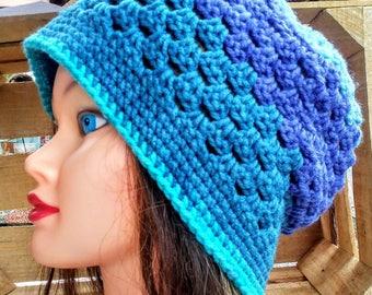 Granny Stripe Hat Crochet in Blues