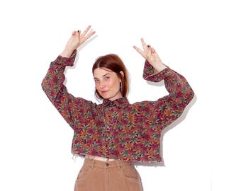 vintage 90s MAPLE POT LEAF shirt / coolest leaf print crop top mens oversized boxy crop top cropped shirt long sleeve button up cute collar