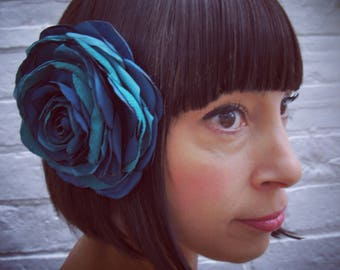 Turquoise green recycled satin hair flower