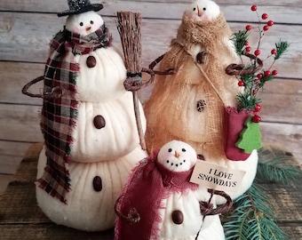 The Snowflakes, A Primitive Folk Art Snowman Doll Family Winter Christmas Shelf Sitters Set of 3