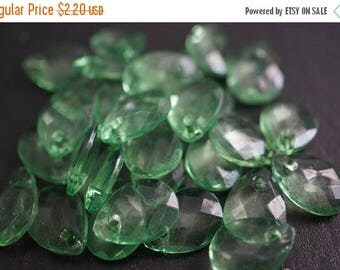 SUMMER CLEARANCE Faceted Tear Drop Spring Translucent Green Lucite Beads - 13mm x 9mm - 20 pcs