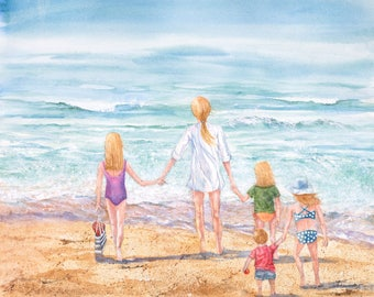 Fine Art Giclee Watercolor Print of family enjoying beach time,fun in the sun, playing in the waves, being connected by Janet Dosenberry
