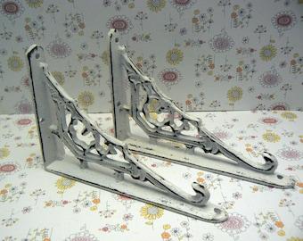 Shelf Bracket Cast Iron Ornate Brace Shabby Chic White Pair DIY for Home Improvement