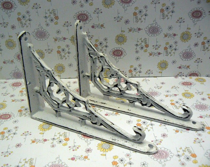 Shelf Bracket Cast Iron Ornate Brace Shabby Chic White Pair DIY for Home Improvement