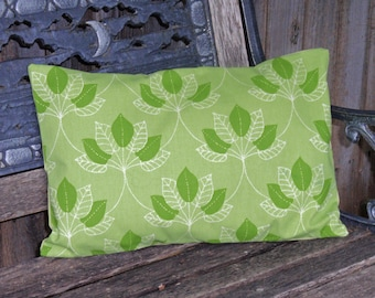 "Throw Pillow Cover, Leafy Green Outdoor Lumbar Pillow Cover, Handmade Decorative Green Mulberry Leaf Outdoor Cushion Cover, 12x18"" Lumbar"
