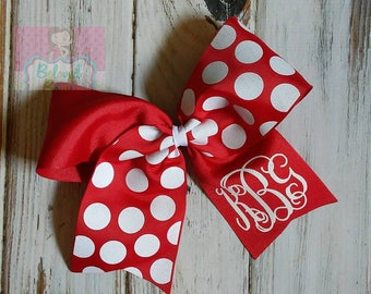 Two Loop Tails Down Monogrammed Back to School Hair Bow, Cheer Hair Bow, Boutique Hair Bow, Polka Dot Hair Bow, Personalized Hair Bow