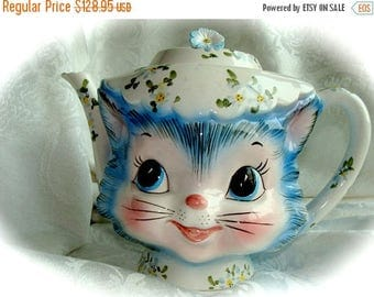 ONSALE Antique Vintage Kitsch Original Miss Priss 1950s Kitty Tea Pot Lefton N0 23