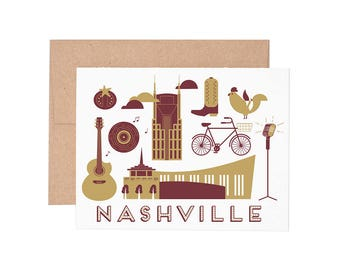 Nashville Letterpress Greeting Card - Blank Card | Greeting Cards |