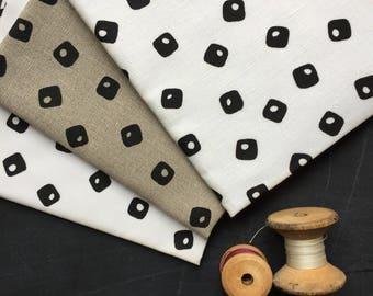black tiles hand screen printed fabric panel