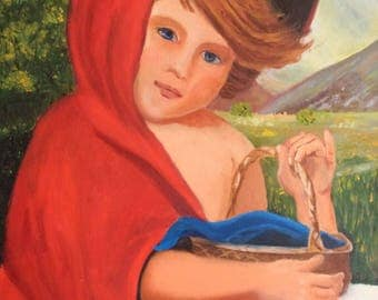 Child with Red Cape, Original Acrylic Painting on Canvas, Blue Eyed Ginger, Signed