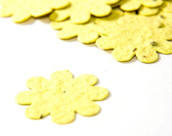 200 Light Yellow Seed Paper Flower Confetti diy wedding favors, place cards, save the date cards creative invitations by Nature Favors